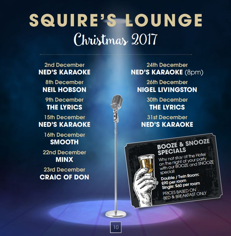 squires lounge xmas 2017