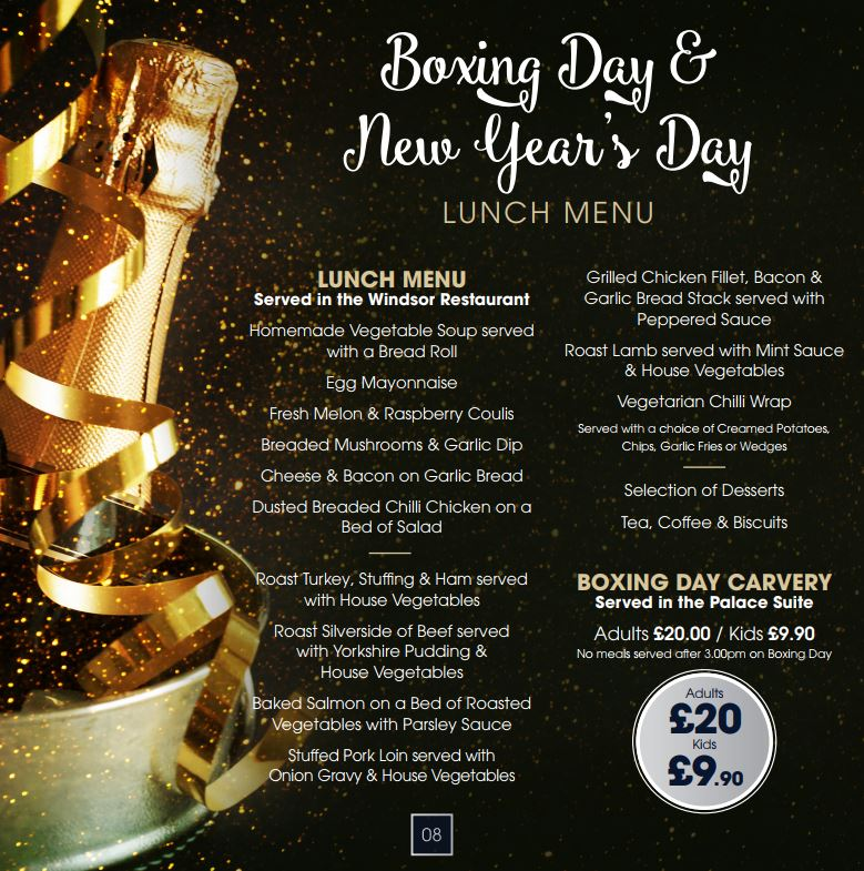 boxing day and new years day lunch menu 2017
