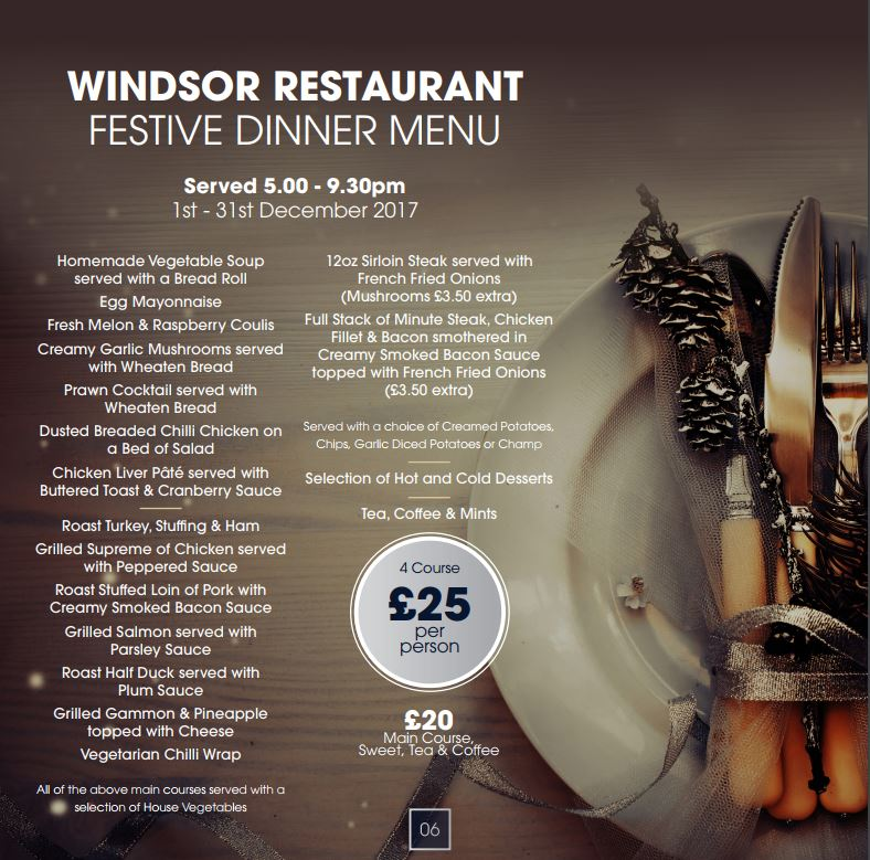 festive dinner menu 2017